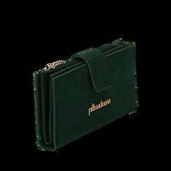Portafogli verde in microfibra, Borse, 145122158MFVERDUNI, 002a