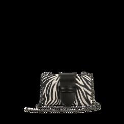 Pochette con tracolla in microfibra stampa zebrata, Saldi Borse, 126606618MFZEBRUNI, 001a