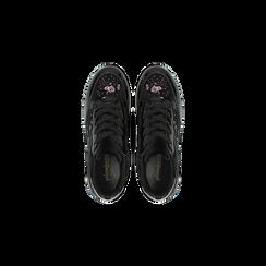 Sneakers nere con ricami floreali velluto, Scarpe, 121617734VLNERO, 004 preview