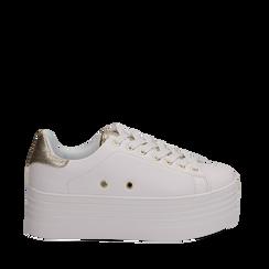 Sneakers bianche in eco-pelle dettaglio oro e suola platform, Scarpe, 132602020EPBIOR036, 001a