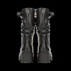 Biker neri in vera pelle con gambale drappeggiato, Primadonna, 127723511PENERO, 003 preview