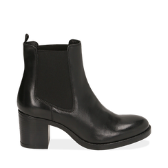 Ankle boots neri in pelle di vitello, tacco 6,50 cm , 16D808226VINERO036, 001a