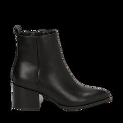 Ankle boots neri in eco-pelle, tacco 6,5 cm , Stivaletti, 143020501EPNERO036, 001a
