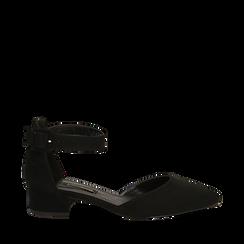 Décolleté nere in microfibra con cinturino alla caviglia, tacco 3,50 cm , Primadonna, 144820733MFNERO036, 001a