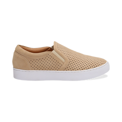 Slip-on beige in nabuk, Scarpe, 131572604NBBEIG036, 001 preview