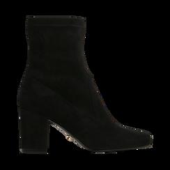 Ankle boots neri in microfibra, tacco 7,5 cm , Stivaletti, 143072170MFNERO035, 001a