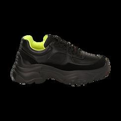Dad shoes nere in eco-pelle, zeppa 5 cm , Scarpe, 142509513EPNERO035, 001 preview