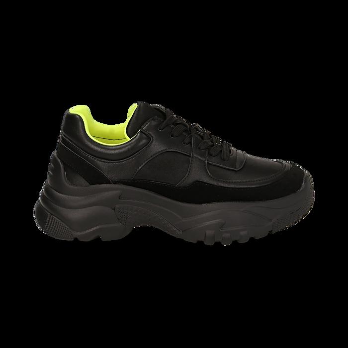 Dad shoes nere in eco-pelle, zeppa 5 cm , Scarpe, 142509513EPNERO035