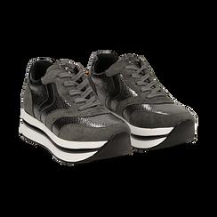 Sneakers platform grigie in eco-pelle, effetto snake skin, zeppa 4 cm , Scarpe, 142892263EVGRIG036, 002 preview