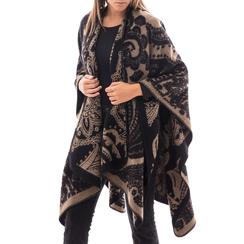 Poncho nero con stampa paisley in tessuto , Abbigliamento, 14B400003TSNERO3XL, 001a