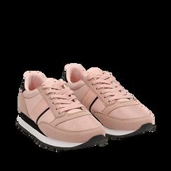 Sneakers nude in tessuto tecnico , Scarpe, 142619079TSNUDE036, 002a