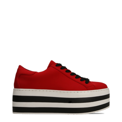 Sneakers rosse con suola platform a righe 6 cm, Primadonna, 12A777615LYROSS035, 001a