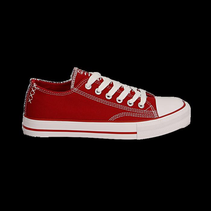 Sneakers rosse in canvas, Scarpe, 137300862CAROSS036