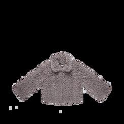 Pelliccia grigia corta eco-shearling, manica lunga, Abbigliamento, 12B432302FUGRIG, 001a preview