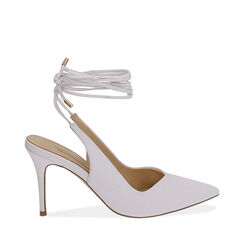 Slingback lace-up bianche, tacco 9 cm , Primadonna, 172106620EPBIAN036, 001a