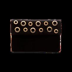 Pochette bustina nera in microfibra con oblò dorati, Saldi, 123308604MFNEROUNI, 001 preview