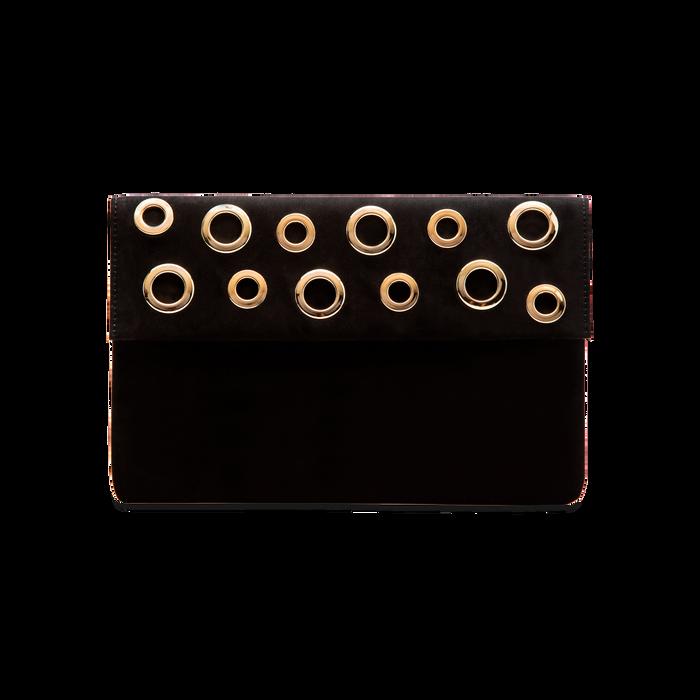 Pochette bustina nera in microfibra con oblò dorati, Borse, 123308604MFNEROUNI