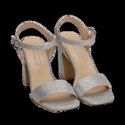 Sandali argento in glitter, tacco 9,50 cm, Scarpe, 154821491GLARGE035, 002a