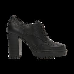 Francesine stringate nere con tacco alto, plateau e rifiniture, Scarpe, 128401245EPNERO, 001 preview