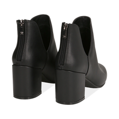 Ankle boots neri in eco-pelle, tacco 8 cm , Stivaletti, 142762723EPNERO036, 004 preview