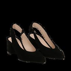 Slingback nere in camoscio, tacco quadrato 6 cm, Primadonna, 13D602202CMNERO035, 002a