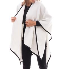 Poncho bianco in tessuto , Abbigliamento, 14B400006TSBIAN3XL, 001a