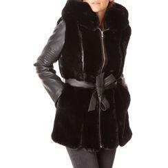 Pelliccia nera in eco-fur, Primadonna, 186500023FUNEROL, 001a