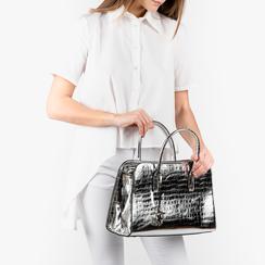 Bolsa de mano en eco-piel con estampado de cocodrilo color plateado, Primadonna, 155702495CCARGEUNI, 002a