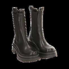 Chelsea boots neri in pelle, tacco 5 cm, Primadonna, 167277044PENERO037, 002a