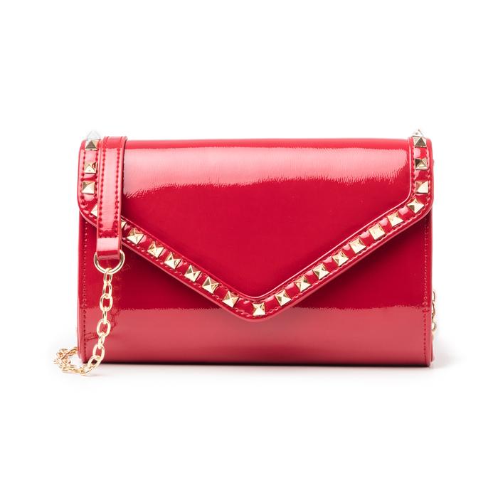 Clutch rossa borchiata in vernice, Borse, 145186501VEROSSUNI