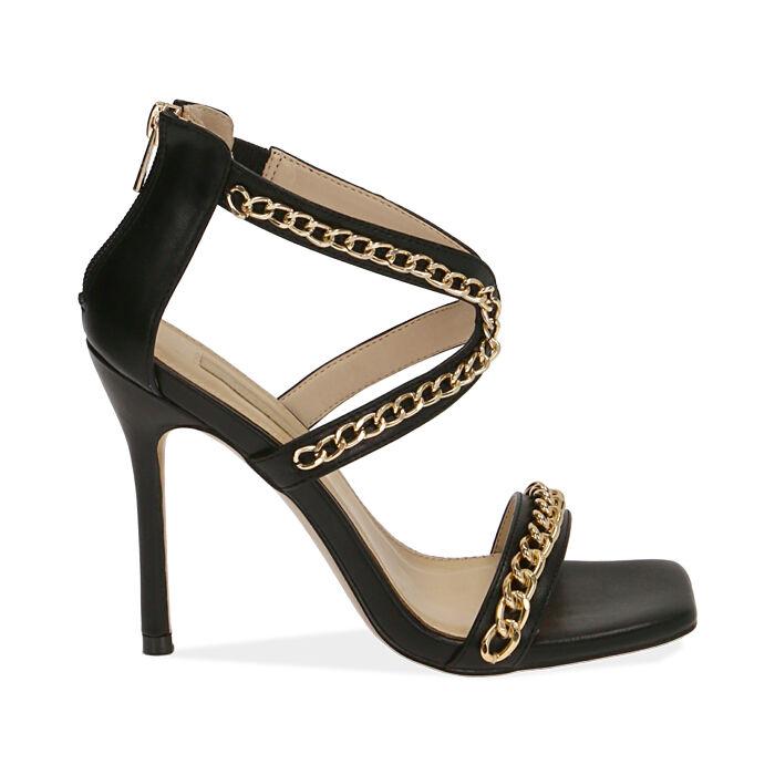 Sandali neri, tacco 11 cm , Primadonna, 172114217EPNERO035