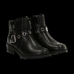 Biker boots neri in eco-pelle con oblò metallici, tacco 3 cm, Scarpe, 130619013EPNERO037, 002 preview