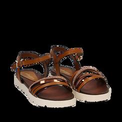 Sandali flat cuoio in eco-pelle con suola in gomma bianca, Primadonna, 111766306EPCUOI038, 002a