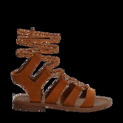 Sandali gladiator cuoio in camoscio, Scarpe, 138100348CMCUOI035, 001a
