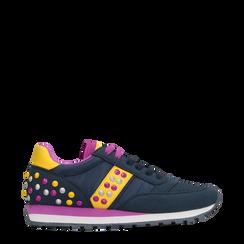 Sneakers blu color block, Primadonna, 122618834MFBLUE035, 001a