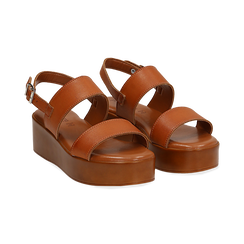 Sandali platform cuoio in eco-pelle, zeppa 5 cm , Saldi Estivi, 13A133254EPCUOI039, 002 preview