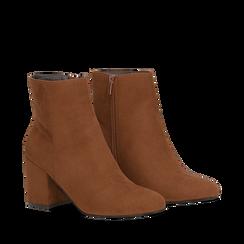 Ankle boots cuoio in microfibra, tacco 7,5 cm , Primadonna, 162762715MFCUOI035, 002a