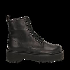 Anfibi platform neri in pelle, suola 4,5 cm , Stivaletti, 147728502PENERO035, 001a