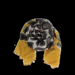 Pashmina gialla in tessuto con stampa pois , Abbigliamento, 14B491013TSGIAL3XL, 002a