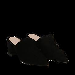 Mules nere in camoscio con punta affusolata, tacco 6 cm, Scarpe, 13D602204CMNERO036, 002a