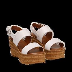 Sandali platform bianchi in eco-pelle, zeppa 8 cm , Primadonna, 13A133255EPBIAN035, 002a
