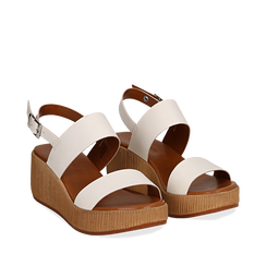 Sandali platform bianchi in eco-pelle, zeppa 5 cm , Primadonna, 13C700258EPBIAN036, 002a