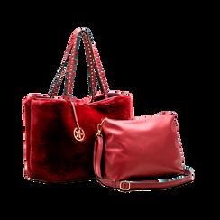 Borsa shopper bordeaux in pelliccia con pochette e portamonete, Borse, 125702076FUBORDUNI, 004 preview