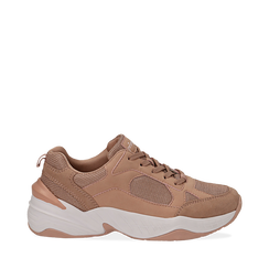 Dad shoes nude in microfibra, zeppa 4,50 cm, Sneakers, 142619462MFNUDE036, 001a