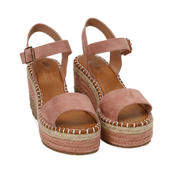 Sandali nude in microfibra, zeppa 9 cm , Chaussures, 154907131MFNUDE035, 002 preview