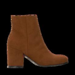 Ankle boots cuoio in microfibra, tacco 7,5 cm , Primadonna, 162762715MFCUOI035, 001a