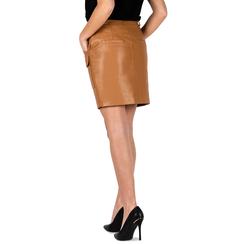 Minifalda en eco-piel color cuero, Primadonna, 156500826EPCUOIL, 002a