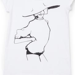 T-shirt bianca in tessuto con stampa nera minimal , Abbigliamento, 13I730076TSBIANL, 002 preview