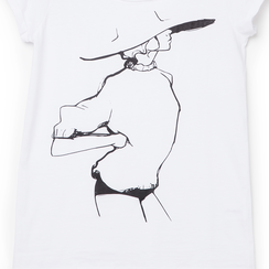 T-shirt bianca in tessuto con stampa nera minimal , Abbigliamento, 13I730076TSBIANL, 002a