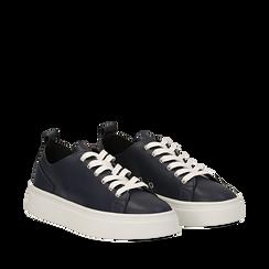 Sneakers blu in eco-pelle, Scarpe, 132500778EPBLUE035, 002a